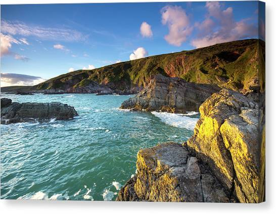 Sunset Taken From Polhawn Whitsand Bay Canvas Print