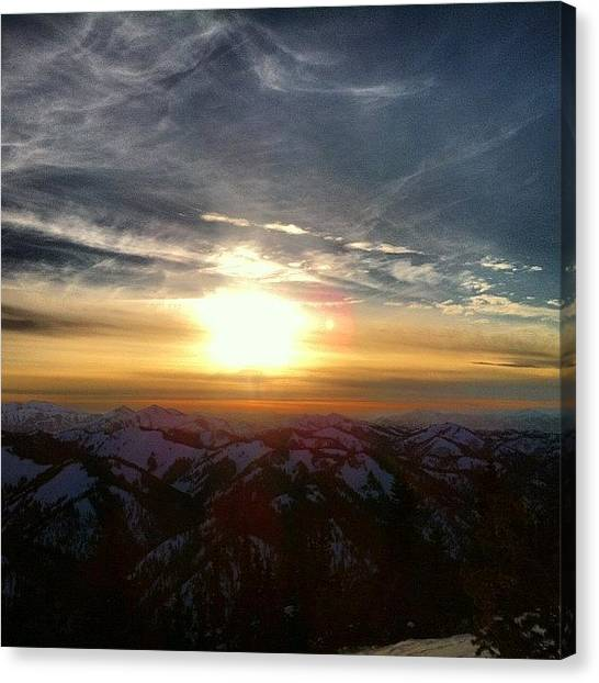 Snowboarding Canvas Print - #sunset #tetonpass #jacksonhole by Niels Rasmussen