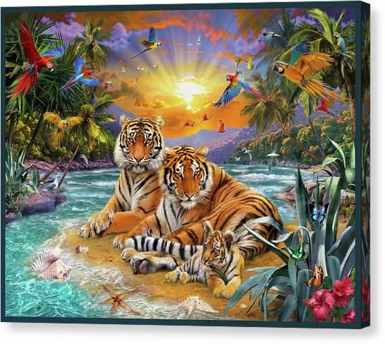 Tropical Beach Canvas Print - Sunset Tigers by Jan Patrik Krasny