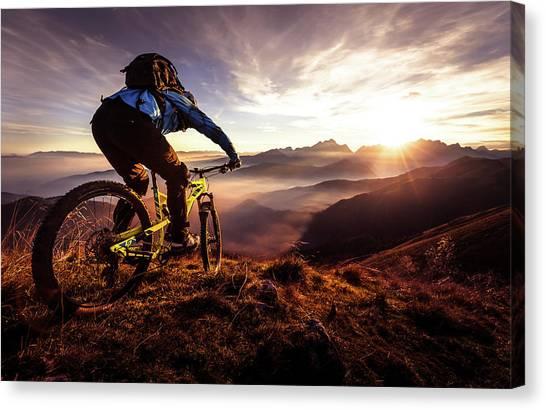 Backpacks Canvas Print - Sunset Trail Ride by Sandi Bertoncelj