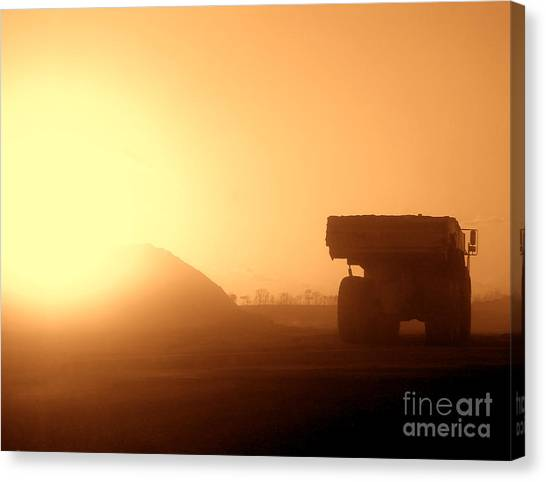 Dump Trucks Canvas Print - Sunset Truck by Olivier Le Queinec