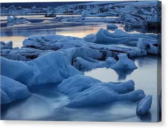 Vatnajokull Glacier Canvas Print - Sunset Vatnajokull Glacier Jokalsarlon by Heike Odermatt