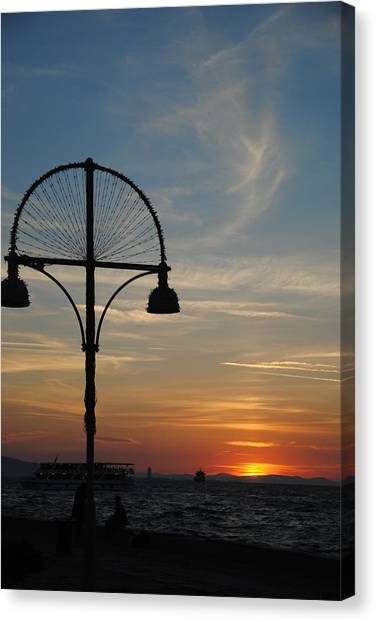 Sunset View From Kordon - Izmir Canvas Print by Jacqueline M Lewis