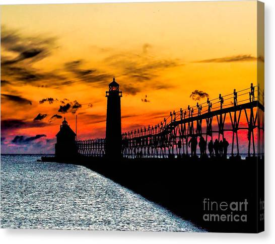 Sunset Walking On Grand Haven Pier Canvas Print