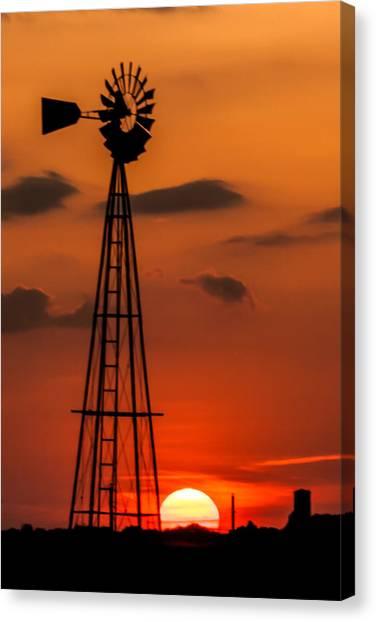 Sunset Windmill Canvas Print