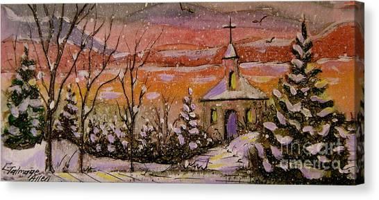 Sunset Winter Church Canvas Print