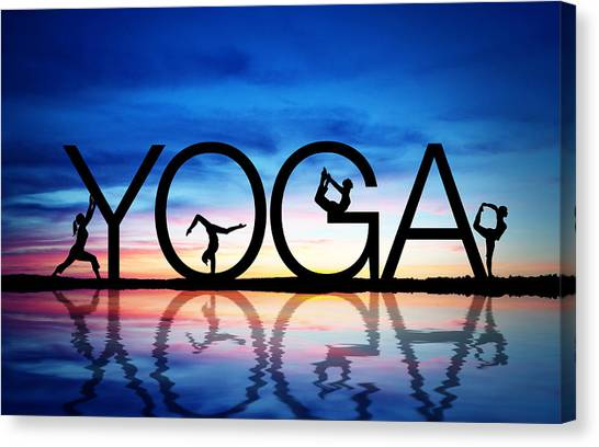 Wellness Canvas Print - Sunset Yoga by Aged Pixel