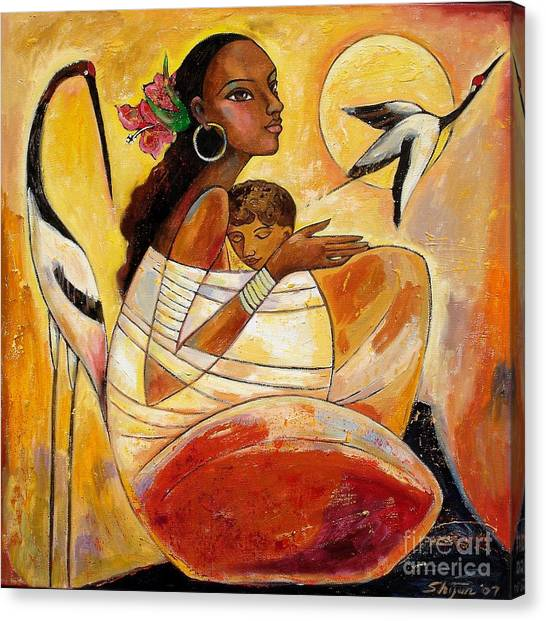Cranes Canvas Print - Sunshine Mother And Child by Shijun Munns