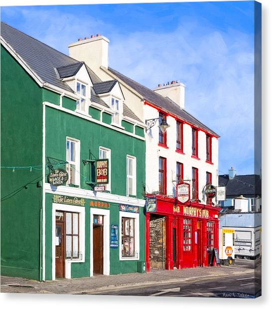St. Patricks Day Canvas Print - Sunshine On The Pubs In Dingle Ireland by Mark E Tisdale