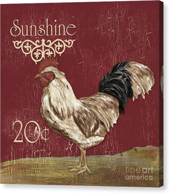 Foul Canvas Print - Sunshine Rooster by Debbie DeWitt