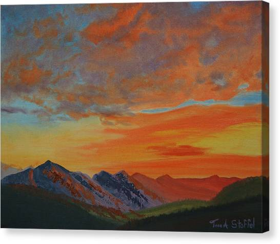 Tina A Stoffel Canvas Print - Sunswept Mountains by Tina Stoffel
