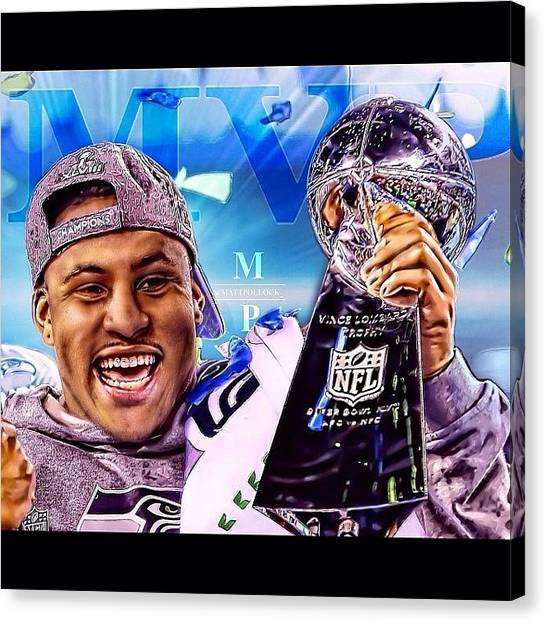 Seattle Seahawks Canvas Print - Super Bowl Xlviii Mvp! Malcolm by Matt Pollock