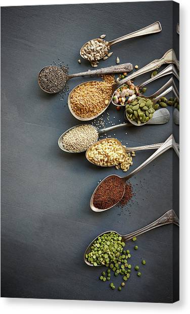 Super Food Grains On Spoons Canvas Print by Lew Robertson