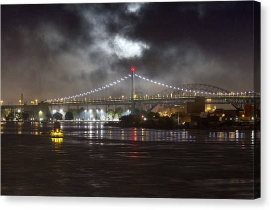 Super Moon And Triboro Bridge Canvas Print