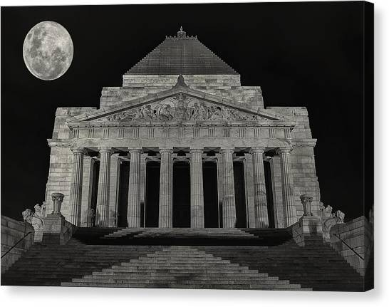 Super Moon Behind Shrine Of Remembrance  Canvas Print