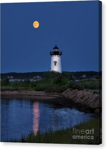Super Moon Over Edgartown Lighthouse Canvas Print