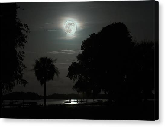 Super Moon Over Wimbee Creek Canvas Print
