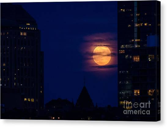 Super Moon Rises Canvas Print by Mike Ste Marie