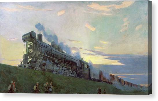 Steam Trains Canvas Print - Super Power Steam Engine, 1935 by Arkadij Aleksandrovic Rylov