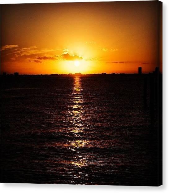 Miami Skyline Canvas Print - Superbowl Sunset! #miami #skyline by Ivan Nava