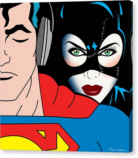 Caricatures Canvas Print - Superman And Catwoman  by Mark Ashkenazi