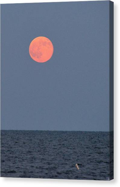 Supermoon Over Nantucket Sound Canvas Print