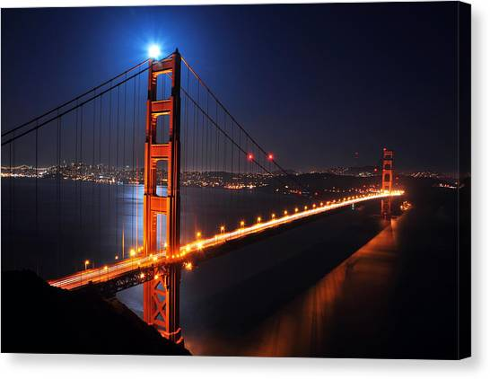 Supermoon Shining On Top Of The Golden Gate Bridge Canvas Print