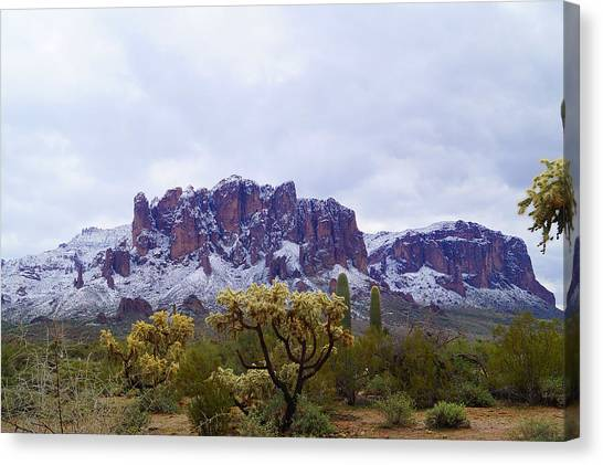 Superstition Mountain Snow Canvas Print