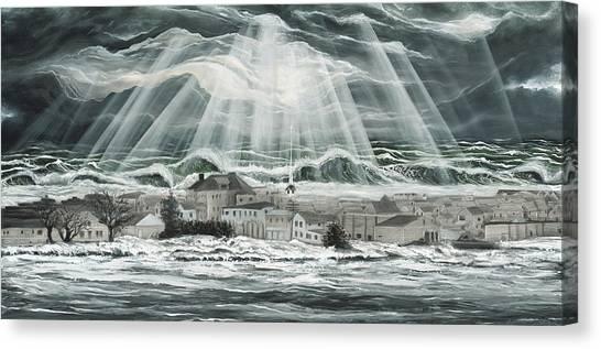 Superstorm Sandy Sea Bright Nj Canvas Print by Ronnie Jackson