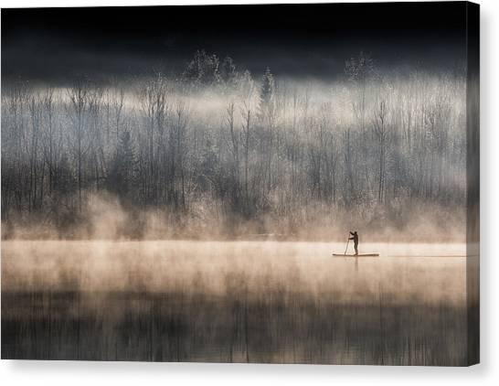 Winter Canvas Print - Suping On Bohinj Lake by Miha Pavlin