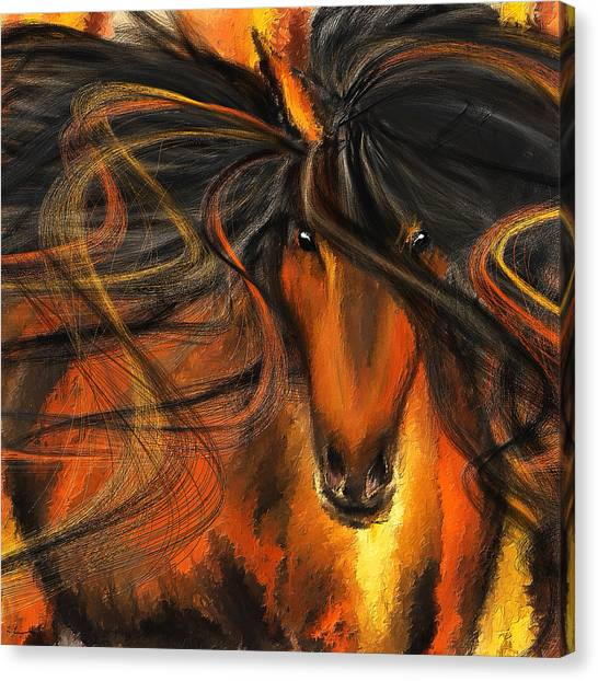 Bay Thoroughbred Horse Canvas Print - Equine Vagabond - Bay Horse Paintings by Lourry Legarde