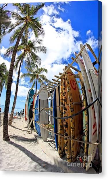 Surf And Sun Waikiki Canvas Print