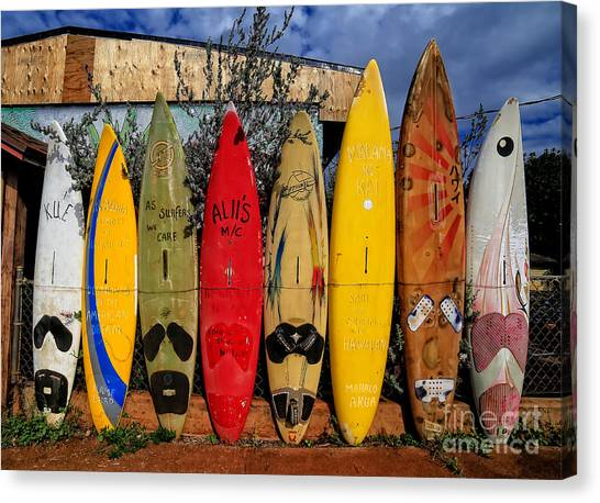 Surfboard Canvas Print - Surf Board Fence Maui Hawaii by Edward Fielding