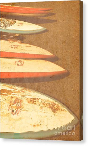 Surf Boards On Beach Canvas Print