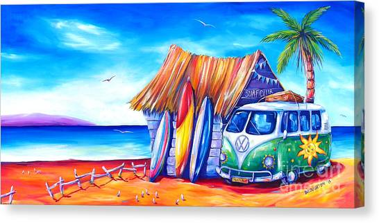 Surfboard Canvas Print - Surf Club by Deb Broughton