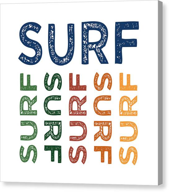 Surfing Canvas Print - Surf Cute Colorful by Flo Karp