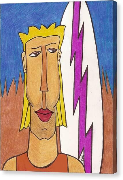 Surfboard Canvas Print - Surf Dude by Ray Ratzlaff