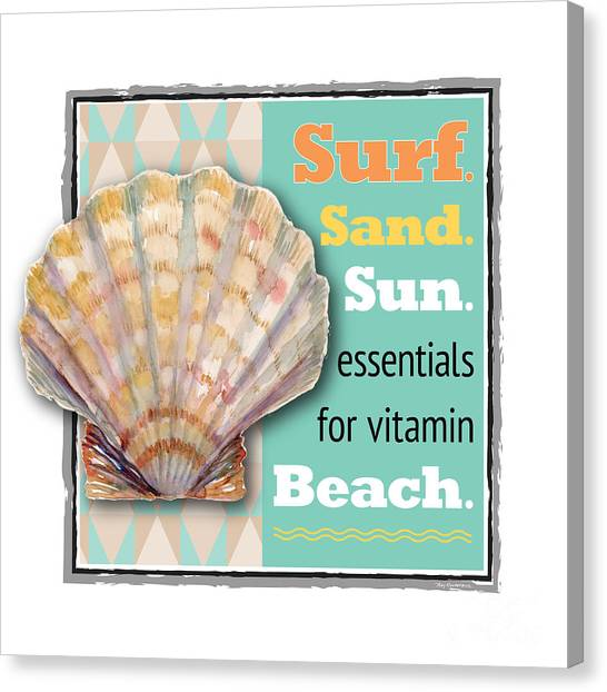 Conch Shells Canvas Print - Surf. Sand. Sun. Essentials For Vitamin Beach. by Amy Kirkpatrick
