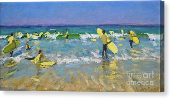 St Ives Canvas Print - Surf School At St Ives by Andrew Macara