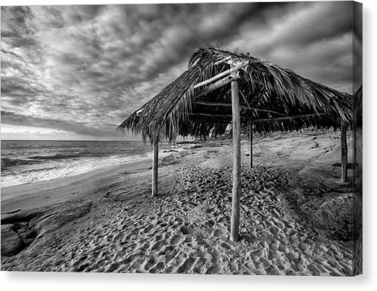 Surf Shack - Black And White Canvas Print by Peter Tellone
