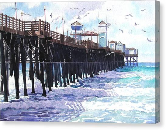 Coffee Mug Canvas Print - Surf View Oceanside Pier California by Mary Helmreich