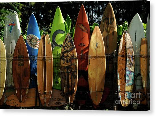 Surfboard Canvas Print - Surfboard Fence 4 by Bob Christopher