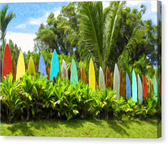 Surfboard Fence Canvas Print - Surfboard Fence Maui by Dominic Piperata