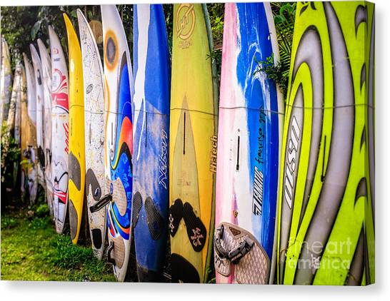 Surfing Canvas Print - Surfboard Fence Maui Hawaii by Edward Fielding