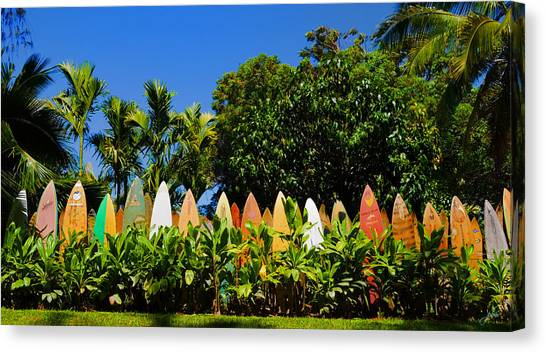 Surfboard Fence Canvas Print - Surfboard Fence - Maui by Paulette B Wright