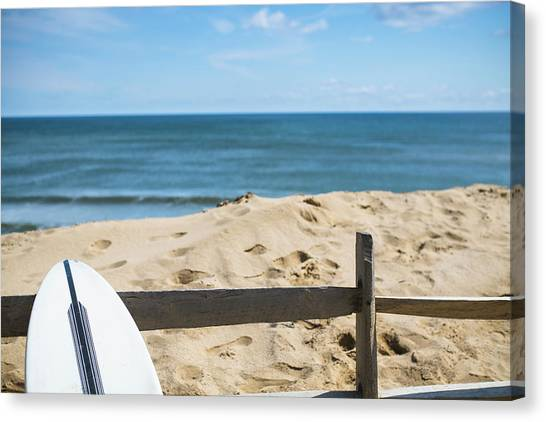 Surfboard Fence Canvas Print - Surfboard Leaning On Beach Fence by Cate Brown