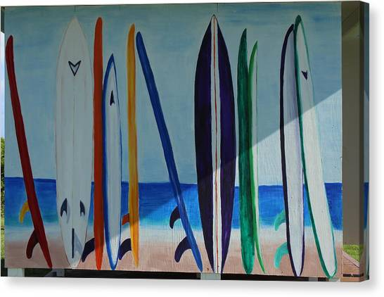 Bases Canvas Print - Surfboard Painting by Michael Kim