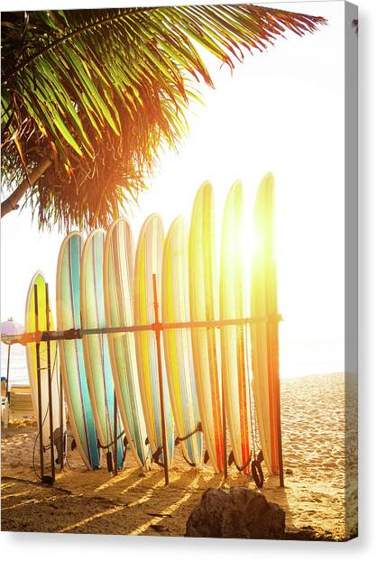 Surfboards At Ocean Beach Canvas Print by Arand