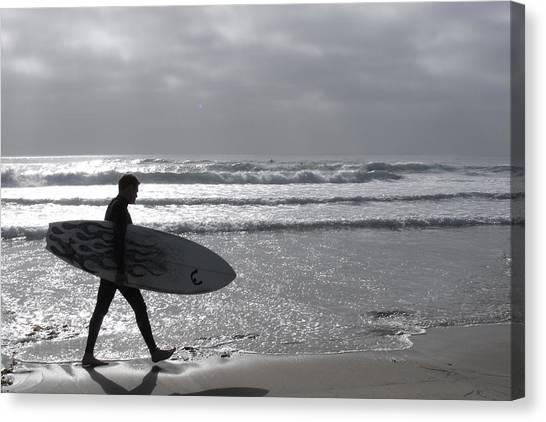 Surfer At Dusk Canvas Print