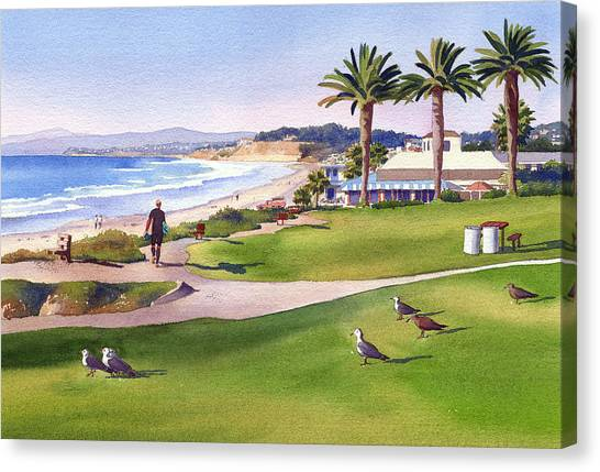 Mars Canvas Print - Surfer At Tres Palms Del Mar by Mary Helmreich